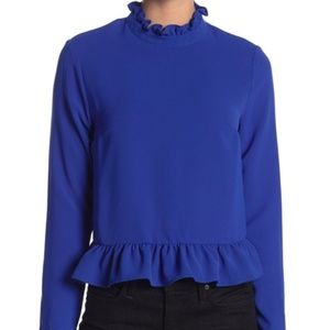 CODEXMODE Ruffle Trim High Neck Blouse